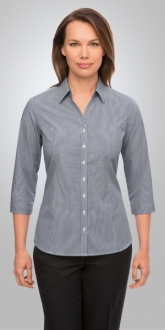 2444CC1 Pippa Check Ladies Shirt 3/4 Sleeve Larger