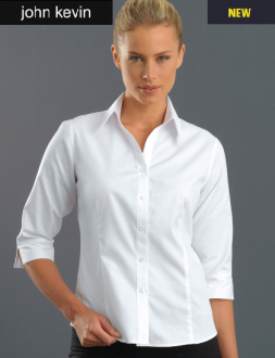 300JK Womens 3/4 Sleeve Pinpoint Oxford