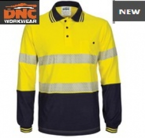 3516 HiVis Segment Taped Cotton Jersey Polo LS