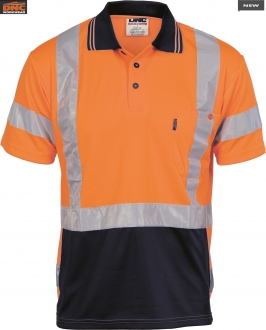 3712L HiVis D/N Cool Breathe Polo Shirt with tape on back SS Larger
