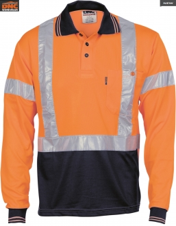 3714L Hi Vis D/N Polo Shirt w/tape LS Larger