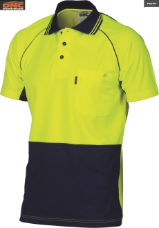 3719 HiVis Cotton backed Coolbreeze Polo SS