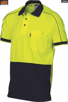 3753 HiVis Cool Breathe Double Piping Polo SS