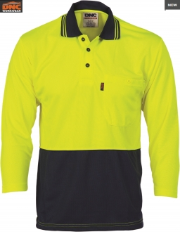 3812 HiVis Two tone Cool Breathe Polo Shirt 3/4 Sleeve