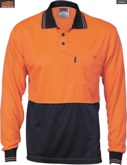 3813 HiVis Two Tone Cool Breathe Polo Shirt LS