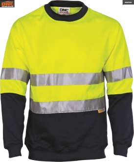 3824L HiVis 2 Tone Fleecy Sweat Shirt Sloppy Joe w/tape LS
