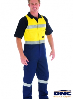 DNC HiVis Cotton Action Back Overall with 3M R/tape