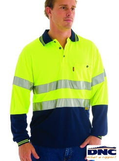 3913 DNC HiVis D/N Cool Breathe L/S Polo Shirt with 3M Tape