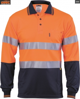 3913 L DNC HiVis D/N Breathe L/S Polo Shirt with 3M Tape Larger