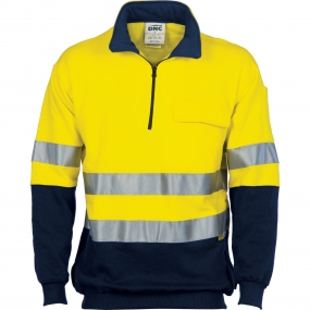 3925L HiVis 2 Tone 1/2 Zip Cotton Fleecy W/Cheater with 3M Tape