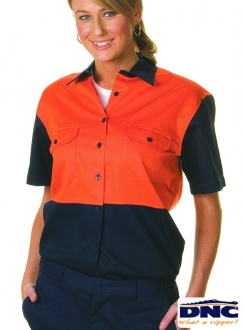 DNC 190gsm Ladies HiVis Cotton Drill S/S Shirt