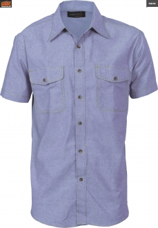 4103 Mens Twin Flap Pocket Chambray SS