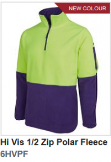 6HVPF Hi Vis 1/2 Zip Polar Fleece