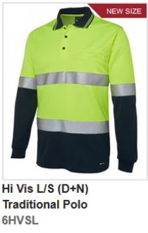6HVSL Hi Vis Long Sleeve (D+N) Trad Polo