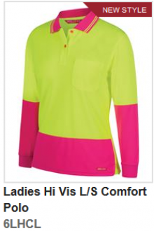 6LHCL Ladies Hi Vis Comfort Polo LS