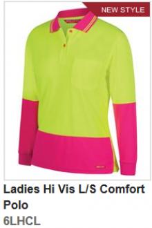 6LHCL Ladies Hi Vis Comfort Polo LS