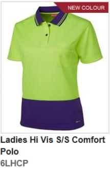 6LHCP Ladies Hi Vis S/S Comfort Polo