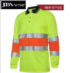 6QTDP Hi Vis Bio Motion LS Polo With Tape D&N