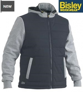 BJ6944 Flex & Move Contrast Puffer Fleece Hooded Jacket