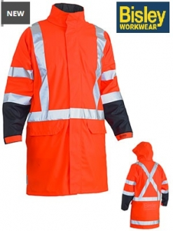 BJ6955XT Hi Vis Stretch Rain Coat/concealed hood and X back