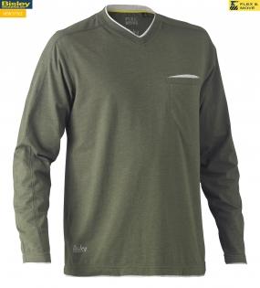 BK6933 Flex & Move™ Cotton Rich V Neck Long Sleeve Tee