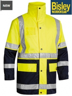 BK6975 Hi Vis 5 in 1 Rain Jacket Taped