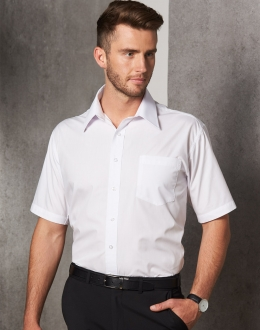 BS01S Mens Poplin Business Shirt SS