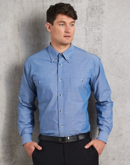 BS03L Mens Wrinkle Free Chambray Shirt LS