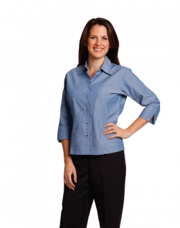 BS04 Larger 3/4 Sleeve Chambray Shirt Ladies