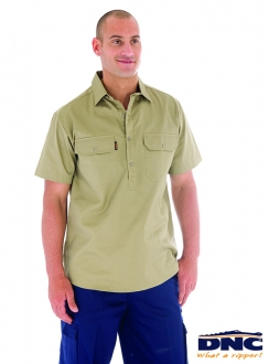 3203 DNC Cotton Drill Close Front S/S Work Shirt