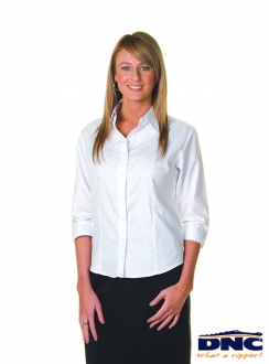 DNC Cotton Ladies Tonal Stripe Sleeve Shirt