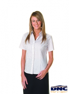 DNC Cotton Rich Ladies Stretch Yarn Dyed Contrast Stripe S/S Shirts