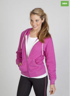 FZ75UN Heather Brushed Fleece Zip Hoodie Ladies/Junior