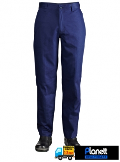 Flat Front Cotton Drill Trouser With Back Patch Pockets