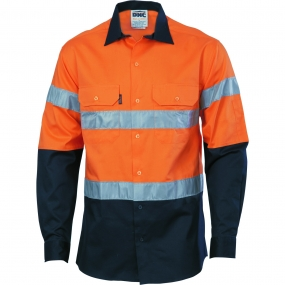 HIVIS D/N 2 TONE LONG SLEEVE DRILL SHIRT