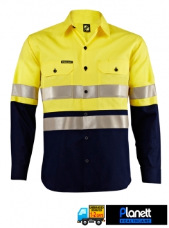 HI-VIS LIGHTWEIGHT TWO TONE LONG SLEEVE SHIRT WITH 3M REFLECTIVE TAPE