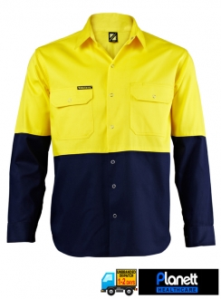 HI-VIS TWO TONE LONG SLEEVE SHIRT WITH PRESS STUDS