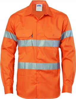 HiVis Cool-Breeze Cotton Shirt with Generic R/Tape - Long sleeve