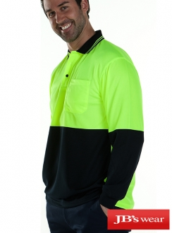 6HVPL JBs HiVis L/S Traditional Polo
