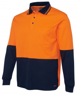 JBs Hi Vis Long Sleeve Cotton Back Polo