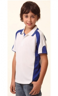 Kids CoolDry Contrast Panel Polo