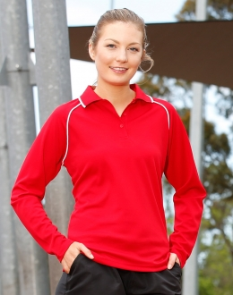 Ladies CoolDry Raglan L/S Contrast Polo