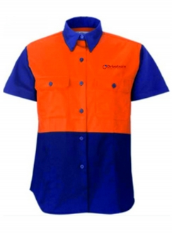 Ladies Hi Vis Drill Shirt S/S