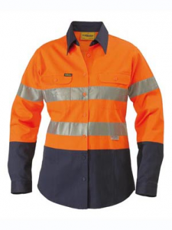 Ladies Hi Vis Drill Shirt L/S With Tape