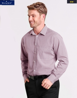 M7340L Mens Two Tone Mini Gingham Shirt LS