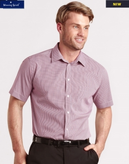 M7340S Mens Two Tone Mini Gingham Shirt SS