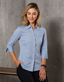 M8013 Ladies Fine Chambray Shirt 3/4 Sleeve