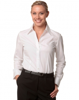 M8020L Ladies Cotton/Poly Stretch shirt LS