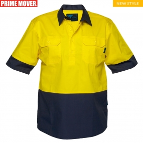 M802 Hi-Vis Two Tone Lightweight Short Sleeve Closed Front Shirt