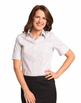 M8200S Ladies Ticking Stripe SS Shirt